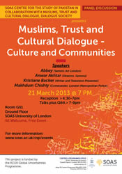 Panel Discussion on Muslims, Trust and Cultural Dialogue: Culture and Communities Poster